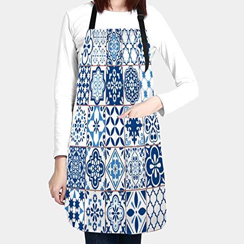 Delantales de Cocina con Bolsillo,patrón de vector de azulejo de azulejo geométrico...