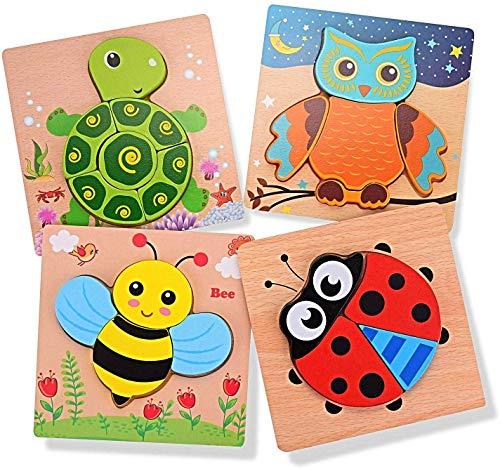 EKKONG 3D Animal Puzzles para Infantiles 1 2 3 años, Rompecabezas de Madera, Niños Bebé Temprano Juguete Educativo Aprendizaje en el Hogar, Educación Preescolar Juguetes Regalos, Set de 4 Piezas