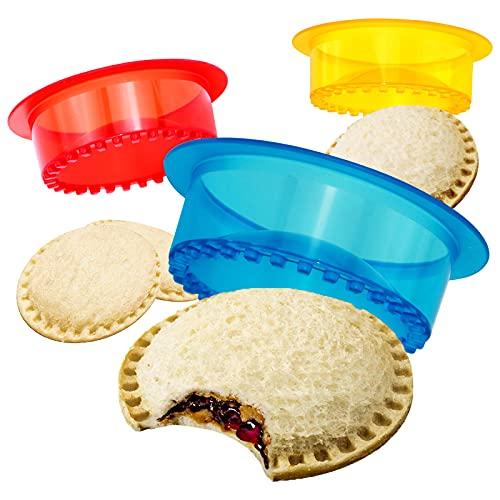 HiYZ Sandwich Cutter and Sealer, Pack of 5 Uncrustables Sandwich Maker for Kids, Bread Sandwich Decruster Pancake Maker DIY Cookie Cutter for Boys and Girls Lunch Lunchbox and Bento Box(Blue)