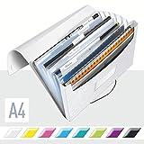 Leitz A4 Projektmappe für bis zu 200 Blatt, 6 Fächer mit Taben zur Ordnung des Inhalts, Gummibandverschluss, Perlweiß, WOW, 45890001