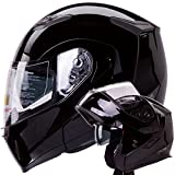 Dual Visor Modular Flip up Gloss Black Motorcycle Snowmobile Helmet DOT (S)