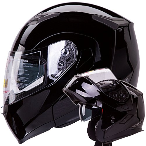Dual Visor Modular Flip up Gloss Black Motorcycle Street Bike Cruiser Chopper Helmet DOT (SIZE: MEDIUM)