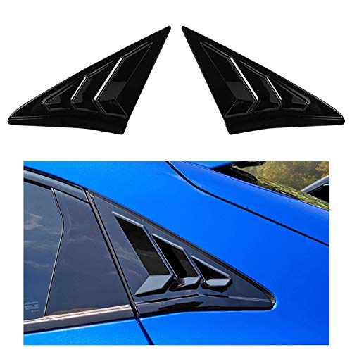 Thenice for 10th Gen Civic Racing Style Rear Side Window Louvers Air Vent Scoop Shades Cover Blinds for Honda Civic Hatchback Type R 2021 2020 2019 2018 2017 2016 -Black