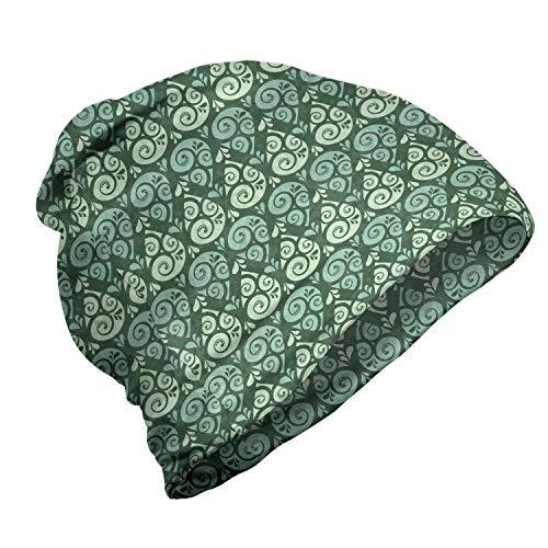 ABAKUHAUS Abstract Unisex Muts, Curly Drops natuurlijke tinten, voor Buiten Wandelen, Pale Green Jade Green