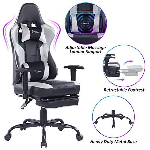 VON RACER Massage Gaming Chair - High Back Racing PC Computer Desk Office Chair Swivel Ergonomic...