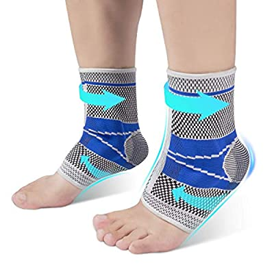 Ankle Brace Compression Sleeve with Silicone Gel, Future Way Brace Support for Sports Protect, Plantar Fasciitis, Achilles Tendonitis, Ligament Damage, Injury Recovery [M, Pair]