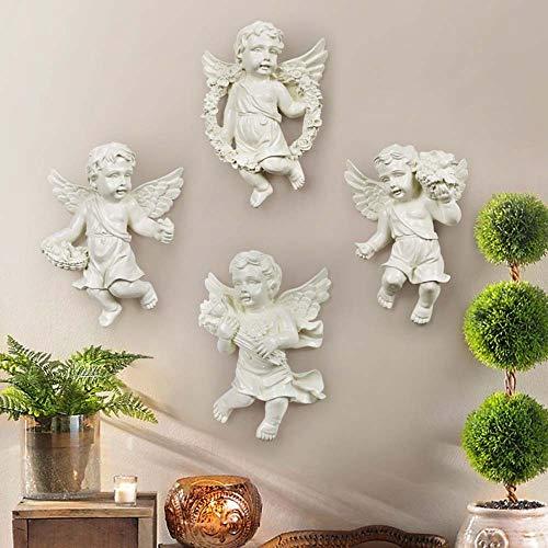DAMAI STORE Europäische Kreative Wohnaccessoires Weißen Engel Perspektive Wanddekoration Hintergrund Zusammensetzung 4 20.8 * 15.5 * 6cm