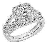 Dazzlingrock Collection 1.00 Carat (ctw) 10K Round Diamond Split Shank Halo Engagement Ring Set 1 CT, White Gold, Size 7