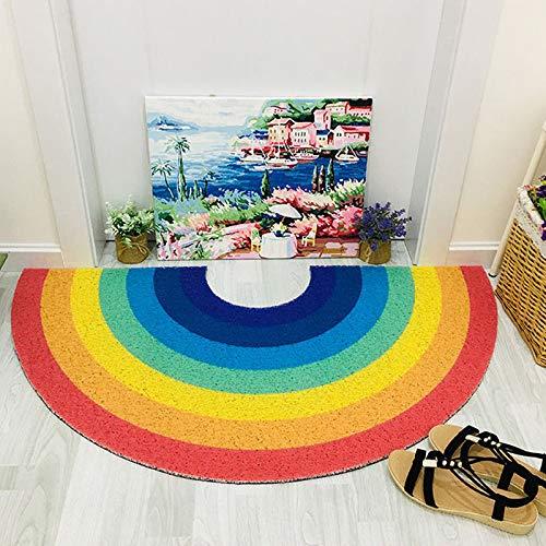 IADZ Felpudo, 1 Felpudo arcoíris para el hogar, Alfombrilla semicircular para Piso, Entrada para Puerta de baño, Alfombrillas Antideslizantes, Alfombra de Colores de Dibujos Animados