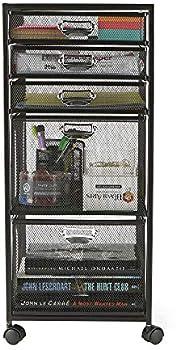 Mind Reader 5TWHEEL-BLK 5-Tiered Cabinet