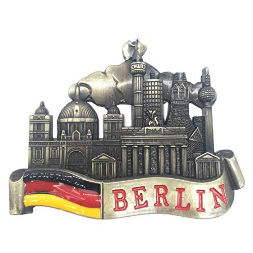 Weekinglo Souvenir Berlín Alemania Imán de Nevera 3D de Metal Artesanía Hecha A Mano Turista Viaje Ciudad Recuerdo Carta Carta Refrigerador Etiqueta