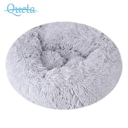 Queta Deluxe-Haustierbett,für Katzen und kleine bis mittelgroße Hunde,Leicht zu reinigen,Bett für Haustiere in Doughnut-Form,50cm (Hellgrau)