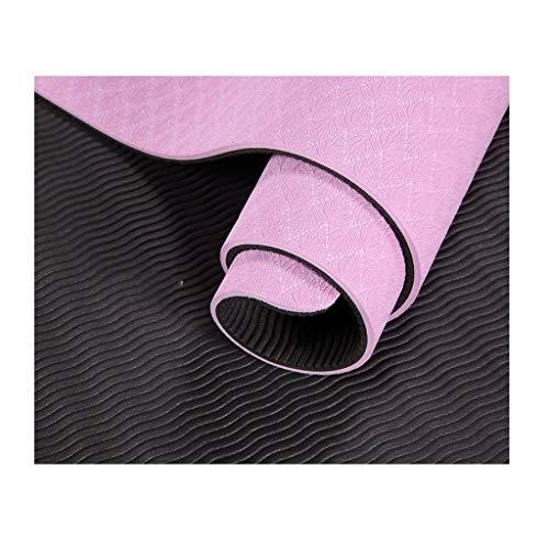 Yogamatte RENRUIRUI- rutschfeste Reißfestigkeit Mit Hoher Dichte 6mmTPE Umwelt Fitness Yoga Matte Yoga Pilates Bodenübung Bodentraining Größe: 183 × 67 cm (Color : Pink)