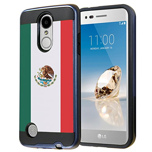 Capsule Case for LG Aristo, Fortune, Phoenix 3 [Cute Dual Layer Heavy Duty Slim Protection Tough Case Black Blue] for LG Aristo, K4 2017, K8 2017 - (Mexico Flag)