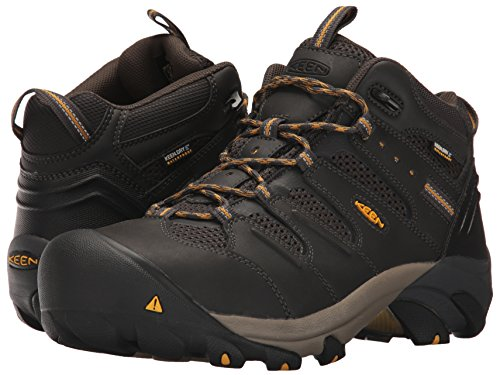 KEEN Utility Men's Lansing Mid Steel Toe Waterproof Work Boot Construction, Raven/Tawny Olive, 10 D (Medium) US