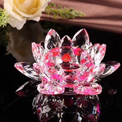 Portavelas feng shui de cristal en forma de flor de loto, con caja de regalo. El adorno perfecto para tu casa o como regalo en Navidad, cumpleaños o bodas., cristal, Rosa