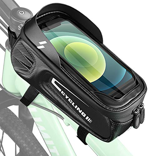 Jioxui 自転車フレームバッグ 自転車トップチューブバッグ 自転車バッグ TPU 強力固定 防水耐磨 梅雨対策 収納便利 小物入れ 大容量 軽量 7.0インチスマホ対応 携帯電話のタッチスクリーン 取り付け簡単 遮光 夜間安全 サイクリング用品 ロード