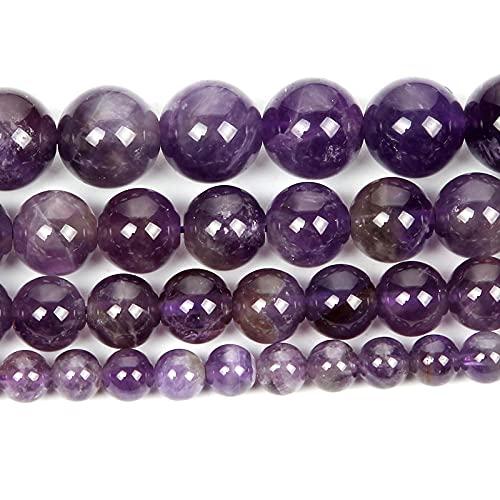 Perlas de piedra natural para la fabricación de joyas Lapislazuli Amatista Folletos Accesorios de pulsera redonda Hecho a mano 4-12mm-Amatista_4mm alrededor de 92pcs