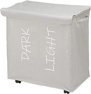 mDesign panier à linge à 2 compartiments et couvercle - corbeille à linge enroulable avec poignées en polyester - bac à li...