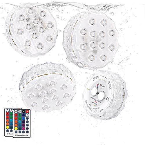 Kohree Poolbeleuchtung Unterwasser Led Licht 4 Stück Wasserdichte Multifarbige RGB Beleuchtung mit RF Fernbedienung 12 LED Leuchten für Teich Schwimmbad Garten Vase Aquarium, Party Dekoration