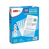 Sheet Protectors, Holds 8.5 x 11 inch Sheets, 9.25 x 11.25 inch Top Loading, Clear, Reinforced 11-Hole, Acid-Free, Archival Safe for Documents and Photos (300 Sheets)