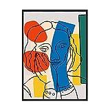 Carteles de arte de línea colorida abstracta, impresiones de niña con cara roja, pintura en lienzo, cuadros de pared modernos nórdicos para sala de estar B 30x40cm