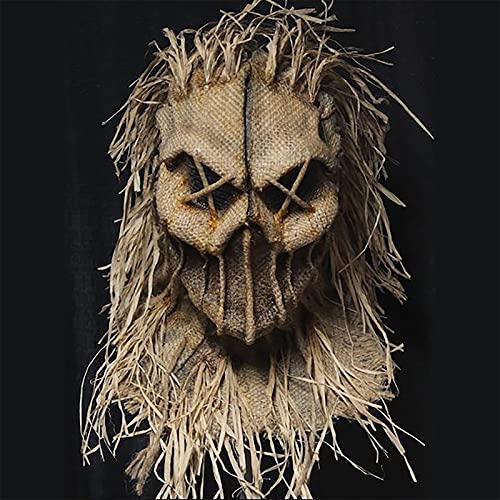 GPMYYBD Máscara De Espantapájaros Hacha De Terror, Halloween Hecho A Mano De Costura, Arpillera Orgánica, Máscara De Espantapájaros Malvado, Decoraciones De Disfraces Marrones (C)