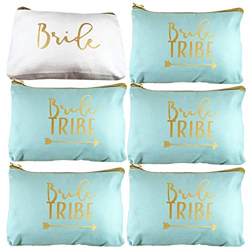 6 Piece Set | Seafoam Green Bride Tribe Canvas Cosmetic Makeup Clutch Gifts Bag