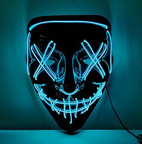 XLH Halloween Mask LED Halloween Luminous Mask Neon Costume Props Carnival Festival Light Up Wire Mask Halloween Decor,Blue,M