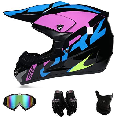 GD-SJK Motorrad Cross Helm, schwarz, lila, Motocross Helm mit Brille, Integral MTB Helm, Motorrad Helm, Fahrrad Enduro Downhill BMX Offroad ATV Offroad Gear Combo (M)
