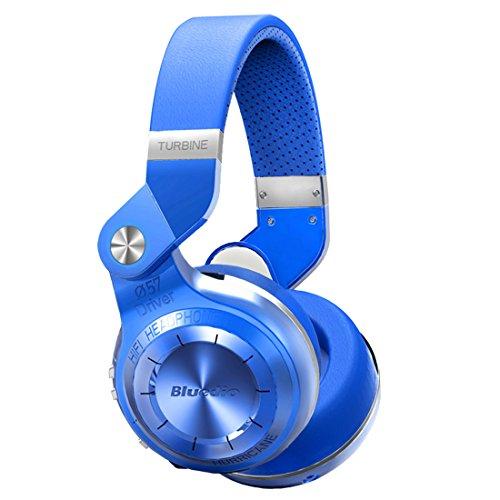 Bluedio T2 Plus Turbine Wireless Bluetooth Headphones with Mic/Micro SD Card Slot/FM Radio (Blue)