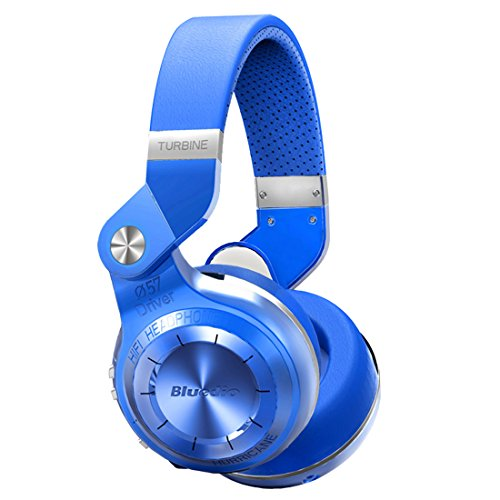 Bluedio T2 Plus Turbine Wireless Bluetooth Headphones with Mic/Micro SD Card Slot/FM Radio (Blue)