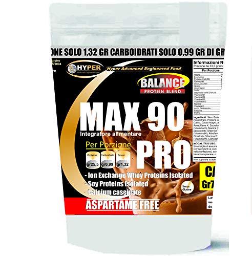 Hyper Max 90 Pro Proteine  tre fonti  proteiche, rilascio graduale con Cacao - 750 gr