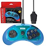 Retro-Bit Official Sega Genesis Controller 6-Button Arcade Pad for Sega Genesis - Original Port - Clear Blue