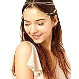 [XPデザイン] チェーン ティアラ ボディチェーン シャイニング ヘア ジュエリー ヘアバンド 髪飾り (リーフ ゴールド)