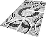 Paco Home Bettumrandung Teppich mit Konturenschnitt Grau Schwarz Creme Läuferset 3 TLG, Grösse:2mal 80x150 1mal 80x300