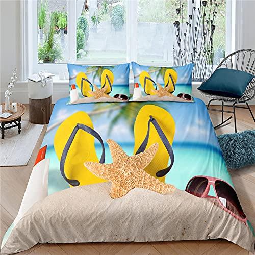 dsgsd Microfibra de decoración de dormitorio Azul estrella de mar zapatillas gafas de sol Cama supergrande: 260x240cm Juego de cama con estampado 3D Funda nórdica Funda de almohada Twin Queen King Siz
