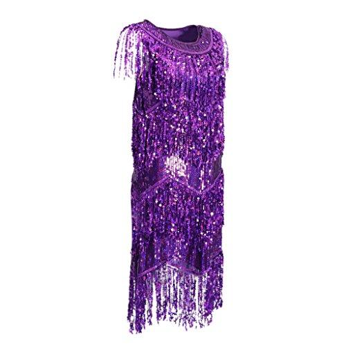 Pailletten Fransen Paillettenkleid Turnierkleid Tanzkleid Latein kleid Cocktailkleid Abendkleid - Lila, L
