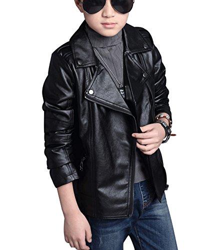 YoungSoul Jungen Mädchen Kunst Lederjacke Kragen Motorrad Leder Mantel Kinder Biker Style Herbst Winter Jacke mit Fellkragen Schwarz 7-8T/Körpergröße 135cm - 3