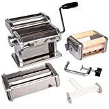 CucinaPro Pasta Maker Deluxe Set 5 Piece Machine with Spaghetti Fettucini, Angel Hair, Ravioli, Lasagnette Attachments