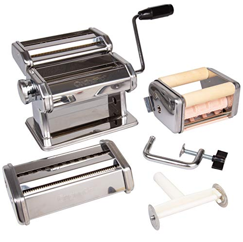 CucinaPro Pasta Maker Deluxe Set 5 Piece Machine with Spaghetti Fettucini, Angel Hair, Ravioli,...