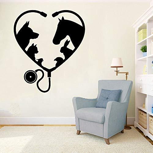 Etiqueta de la pared de la ventana del salón de belleza Animal mascota veterinaria decoración de interiores vinilo adhesivo artístico A6 57x66 cm