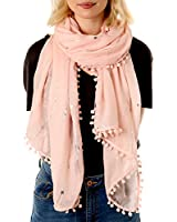 PomPom and Tasseled Scarves for Women   Lightweight   Thick and Warm   Colourful and Trendy Fashion Scarfs   Long Wrap Shawl or Sarong   UK   Prime   Clearance