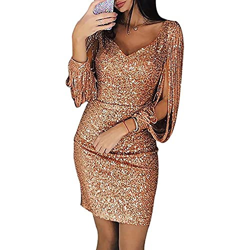 MINEMIN Long Sleeve Dress for Women's Sequin Sparkly Shining Sexy Solid Color Sheath Evening Party Prom Mini Bodycon Dresses Rose Gold