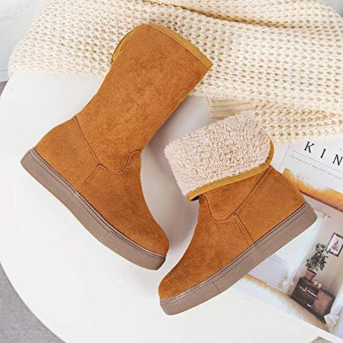 ZY&FC botas de Invierno para el Campo de Nieve botas de algodón de Medio cazo con Franela aplanada botas de algodón Antideslizantes