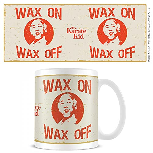 1art1 Karate Kid, The Wax On Wax Off Taza Foto (9x8 cm) Y 1x Pegatina Sorpresa