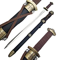 """440 Stainless steel blade 33"""" Medieval Steel Viking Worrior Spatha Battle Sword &Scab Wood scabbard with imitation leather wrap Imitation leather-wrapped handle Scabbard features bronze throat and scabbard"""