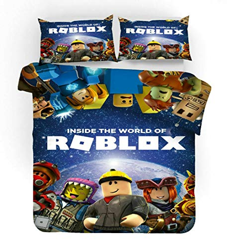 N/Y Ro-blox Qulit Cover 3D Game Cartoon Duvet Cover Full, 2/3 Pieces Bedding Set, Soft and Breathable Best Kids Gift Comforter Cover Set,1 Duvet Cover&2 Pillow Shams