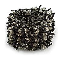 Avalaya ワイドガラスビーズフレックスブレスレット (ブラック、透明) - 長さ18cmまで