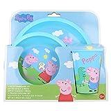 | Peppa Pig | Set Vajilla Infantil - Resistente | Servicio de Mesa Libre de BPA para niños y bebés - 3 Piezas: Vaso, Plato y Cuenco